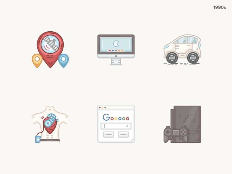 History Geek Icons 2000s - At last :) gps artificial heart google browser imac hybrid car playstation evolution technology history 20 century history geek icons set icons