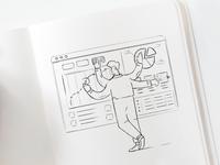 More sketches, Website illustrations.