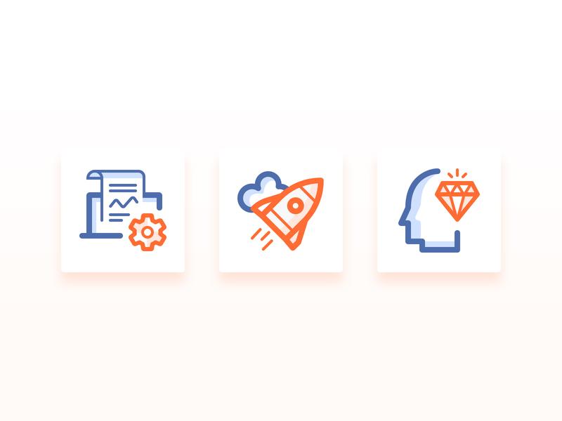 Presentation Icons idea agile customisation ideate diamond rocket icons set icons