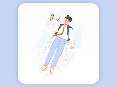 Agile business services illustration entrepreneur business landing page accountancy bookkeeping flying agile app jetpack illustration