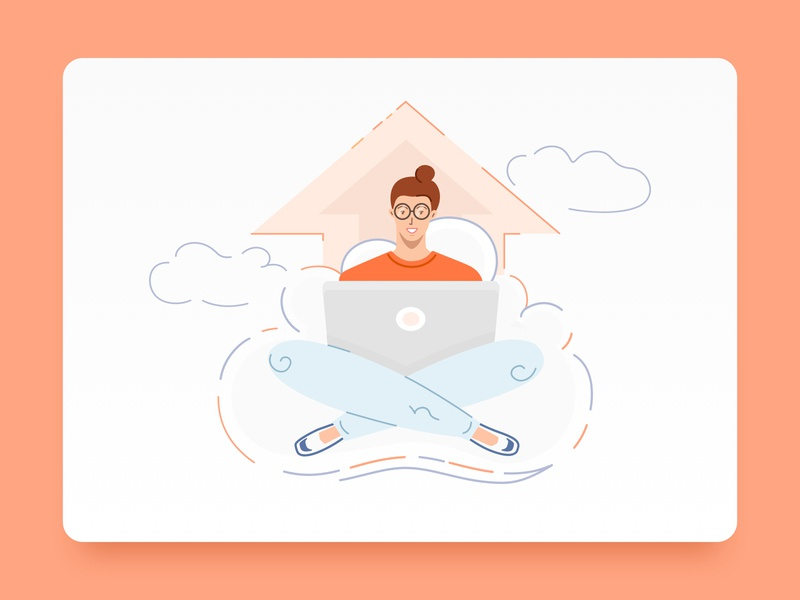 Cloud Service Illustration landing page vector illustration woman on the cloud cloud service upload sitting on a cloud cloud cloud app accountants bookkeeping illustration