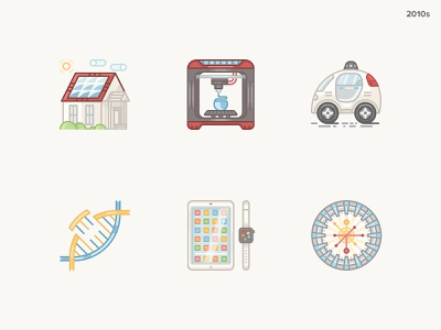 History Geek Icons 2010s the large hadron collider iwatch ipad genome 3d printer solar panels google car bright history century 2010 history geek icons icon