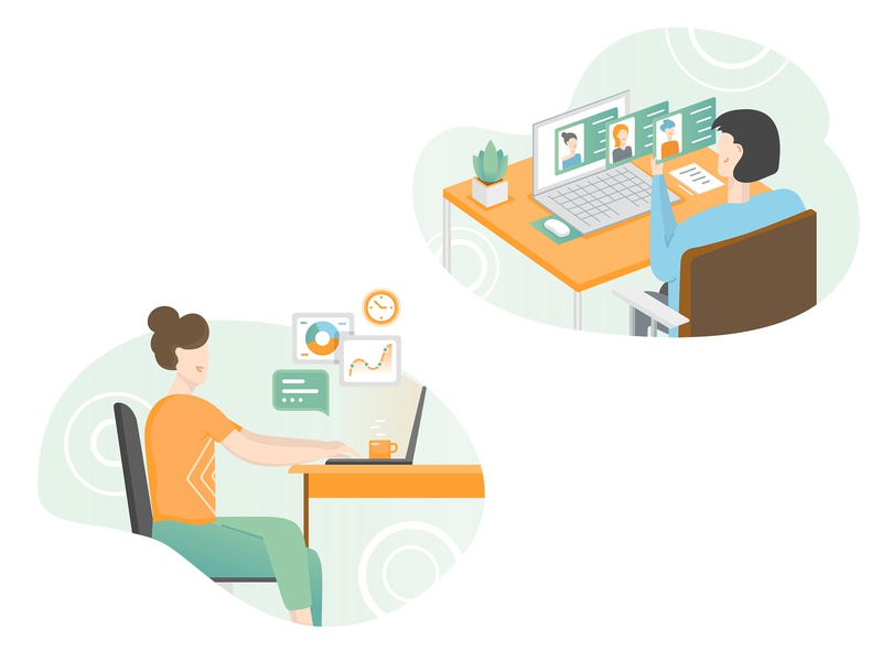 More Illustrations  / Marketing Tasks for Payroll, HR SAAS vector woman sitting at the table office work recruiting accountant hr searching profile illustrations