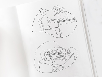 Illustration Sketches / Marketing Tasks for Payroll, HR SAAS sketchbook adobe photoshop searching profile hr accountant working at computer office illustration sketch