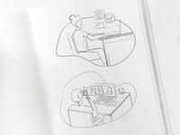 Illustration Sketches / Marketing Tasks for Payroll, HR SAAS