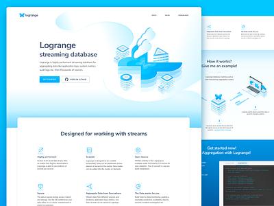 Logrange. Streaming Database Website aggregated data butterfly data database streaming database user interface landing page website web design