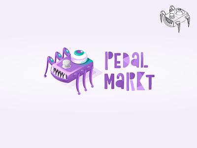 Monster Guitar Effect Illustrative Logotype. Pedalmarkt isometric illustration isometric monster guitar effect brand identity branding logo logotype