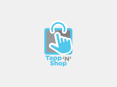 Tapp N Shop shopping cart smartphone shopping bag tapping logo ecommerce logodesign