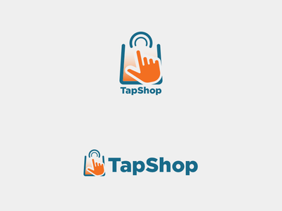 TapShop - Mobile eCommerce Logo buying technology tech paper handbag screen pointer icon logo tapping shopping bag shop online tapp tap smartphone store ecommerce mobile