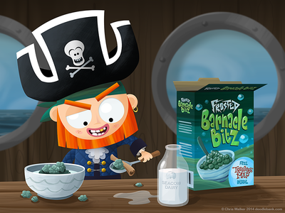 Captain Plughole eats breakfast illustration pirate pirates character design breakfast hand lettering