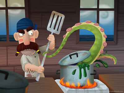 Cooking on the high seas illustration pirate pirates character design cooking chef