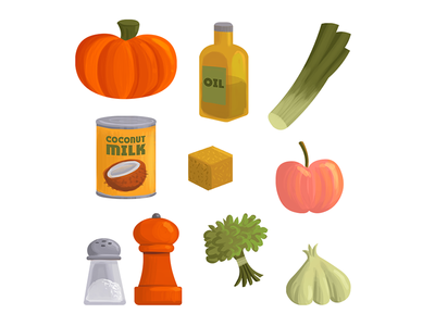 Ingredients for Pumpkin Soup illustration recipe ingredients typography type text texture paint pumpkin
