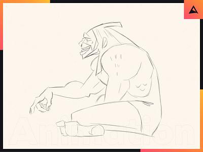 Caveman - Rough animation character caveman framebyframe roughanimator rough sketch rough tbr