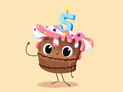 Animagic's 5th Anniversary! character characterdesign motiongraphics party happy animation hi hello cuteness cute muffin cupcake cake anniversary