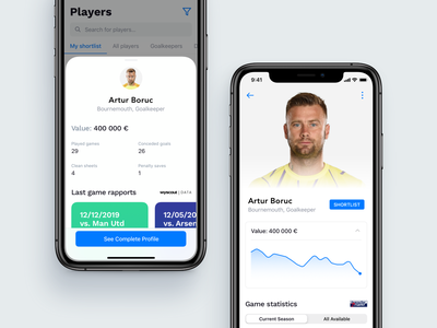 Football MGMT | Player Profile clean design clean ux ui mobile product design product mobile ui ui design application app ios ios app design ios app minimal profile design profile profile card ui element whitespace