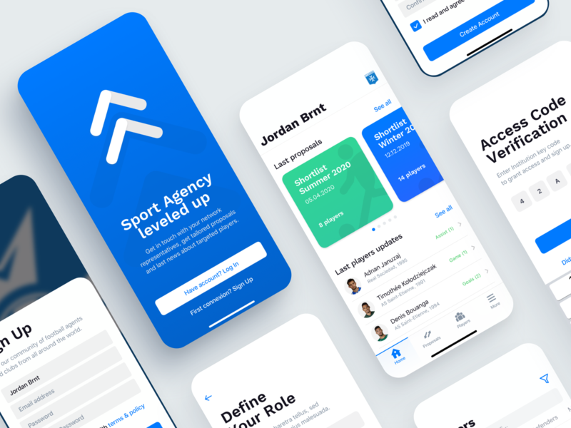 Football MGMT   Screens Preview clean application app design mobile app app product design product mobile design mobile ui ui design home screen ios app ios minimal kyc onboarding welcome screen list view ui element whitespace