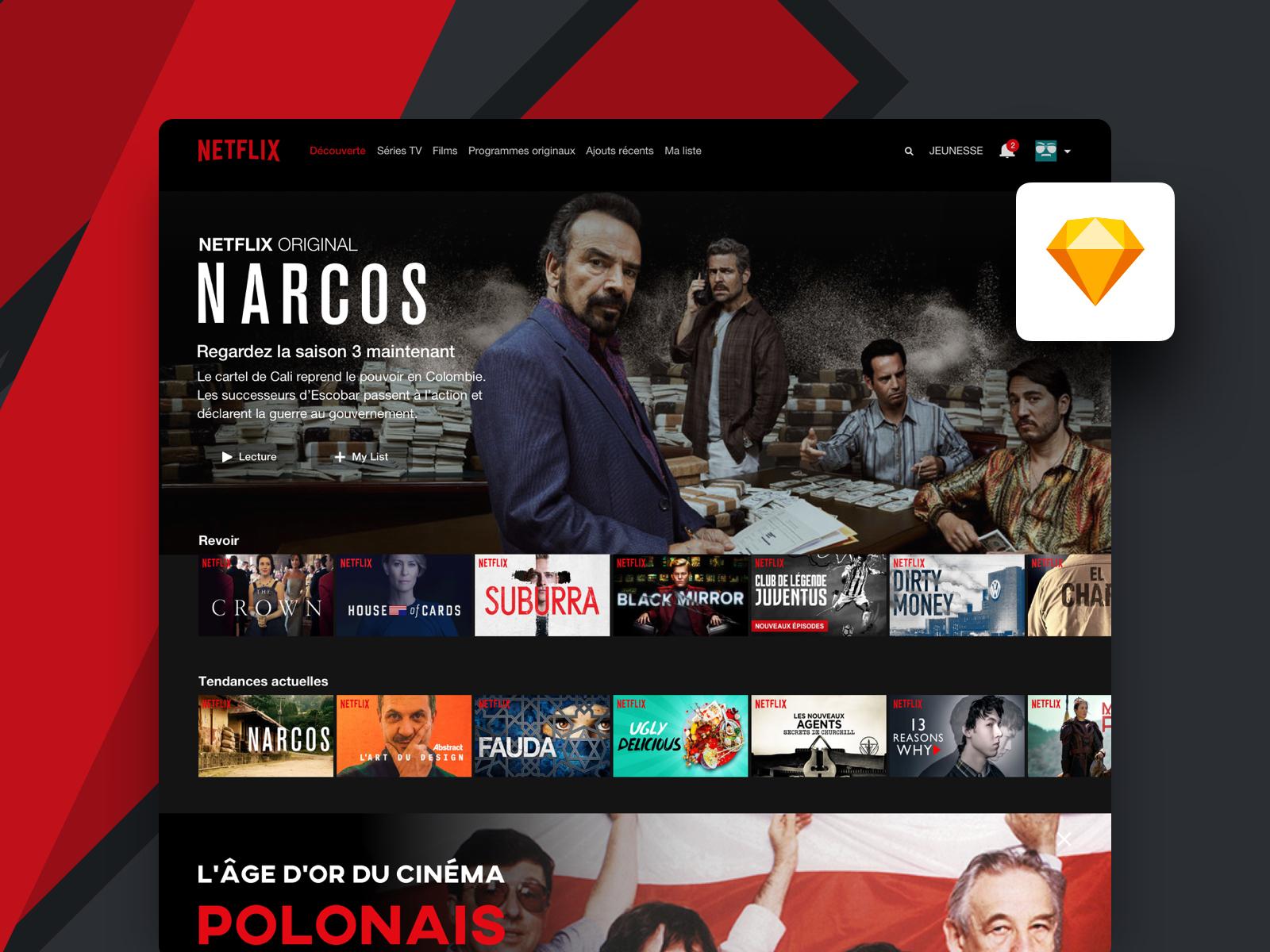 Freebie | Netflix Desktop UI fr file free homepage design web freebies download ui app desktop app desktop netflix sketchapp sketch freebie-friday freebie