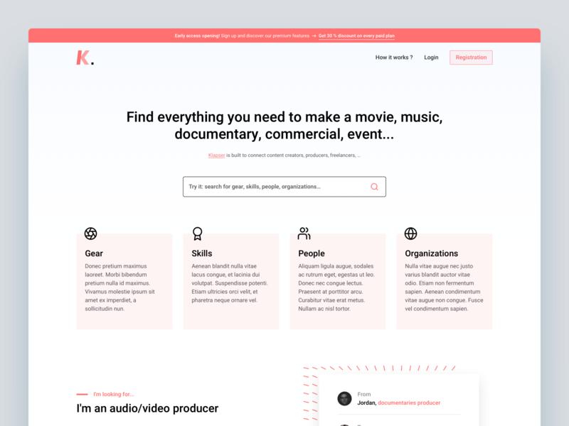 Klapser   LandingPage hero landing page search engine platform collaborative product design product page clean web landingpage minimal landing app ui