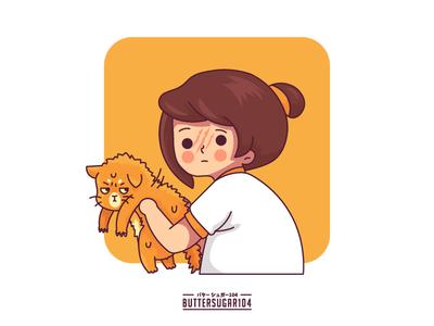 Cat Scratch funny gag woman orange pet cat girl characterdesign vector graphic illustration