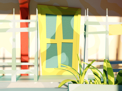Las palmeras neighbourhood 1/4 3d art lowpolyart octane animation lowpoly art render illustration cinema4d 3d