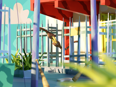 Las palmeras neighbourhood 3/4 3d art 3d artist lowpolyart octane lowpoly art render illustration cinema4d 3d