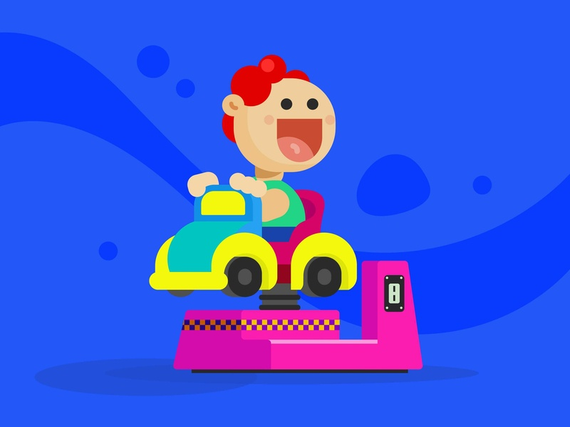 Kiddie Ride flat illustration vector artwork vector art illustration