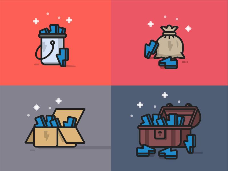 Store items mobile app design vector art game asset game art game ui vector vector artwork illustration flat illustration treasure chest