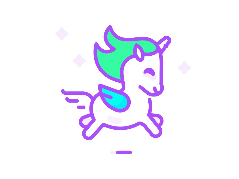 Running unicorn unicorn vector artwork flat illustration vector art illustration