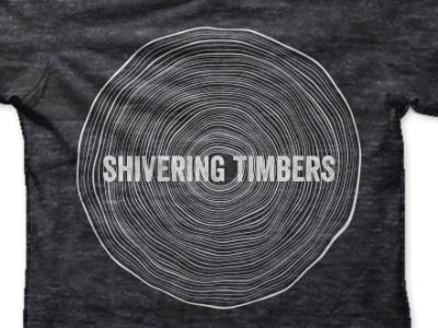 Shivering Timbers T-Shirt Design shivering timbers band tee tee band t-shirt concert black white tree rings tree shirt
