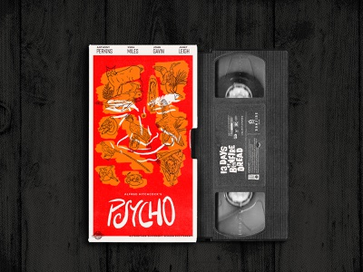 Psycho VHS Cover inktober halloween horror custom type sketch alfred hitchcock hitchcock bates motel norman bates taxidermy procreate cinema movie poster vhs psycho