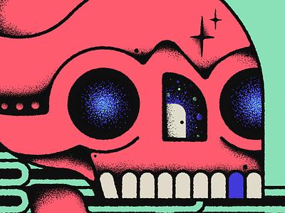10x20 - 4: Making A Door Less Open - Car Seat Headrest tooth gig poster retro supply texture top album procreate space door tattoo skull 10x20 album art vinyl making a door less open