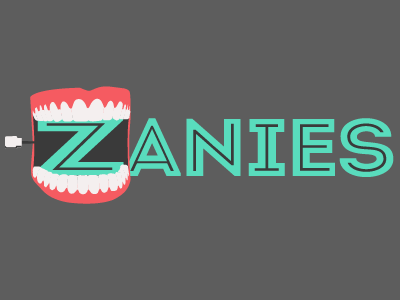 Final Logos (main) teeth chatter teeth red teal intro inline wind up comedy laughs black white
