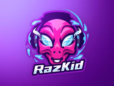 RazKid Alien Mascot Logo mark letter mascot illustration esports identity gaming design branding logo