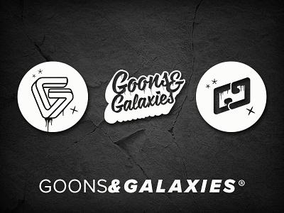 Goons & Galaxies Branding logotype typography geometric galaxy black and white minimal streetwear brand illustration branding logo