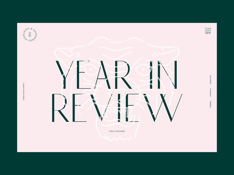 TEAMGEEK — YIR19 typography user experience web interface ux ui abstract modern minimal green pink pastels website pastel year in review