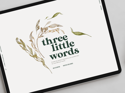Three Little Words branding illustration website saas website clean minimal user experience saas wedding soft pastel floral user interface ui