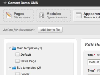 Bespoke CMS admin interface cms admin ui