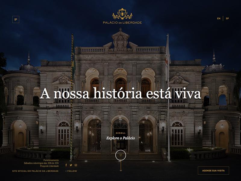 Palácio da Liberdade gold blue serif photo background design site website palace