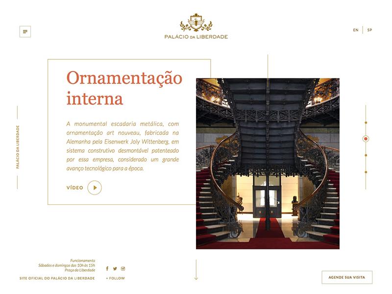 Palácio da Liberdade website site serif photo palace gold design blue background
