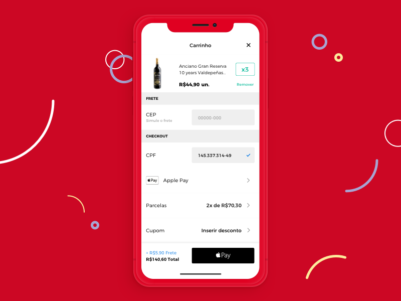 ( evino ) cart redesign with Apple Pay ios cart mobile design ui wine evino pay apple