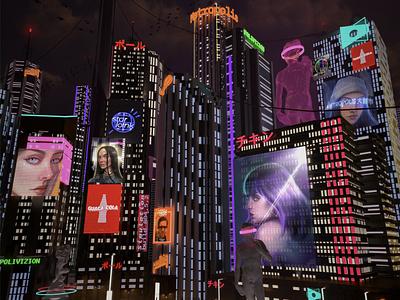 Marktplatz, 3D composition urbanism concept cinema4d cyberpunk render art logo typography illustration digital design pollitq