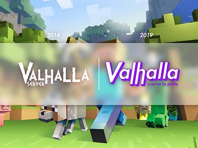 Valhalla Minecraft Server rebranding old school vlahalla server redisign minecraft logo minecraft server website logo web ux render branding cartoon typography vector digital art illustration design pollitq