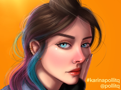 KARINA 3 pollitq character design design speedart digital painting retrato femenino female illustration caricaturas procreate karina procrate illustration illustration