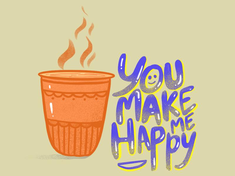 You Make Me Happy calligraphy lettering app flat icon mobile logo coffee tea minimal ui procreate app typography website vector branding animation motion graphics illustration design