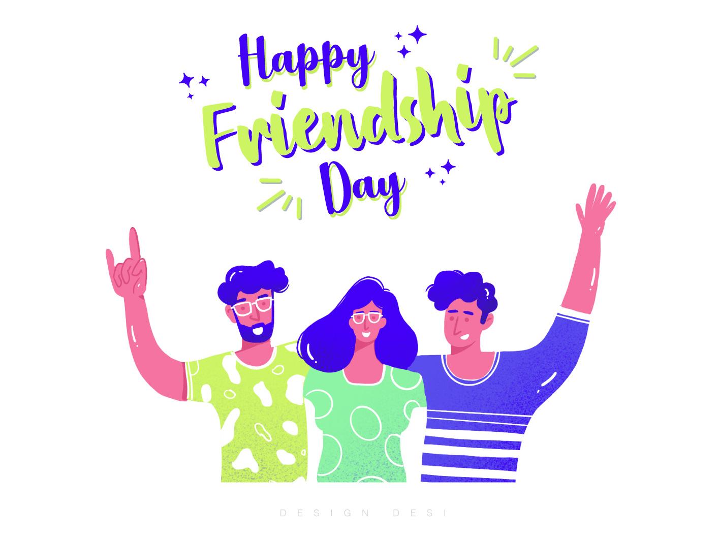 Happy Friendship Day love minimal ios web icon mobile uiux website graphic design artwork illustrator adobe illustrator flat animation typography motion graphics friendship vector illustration design