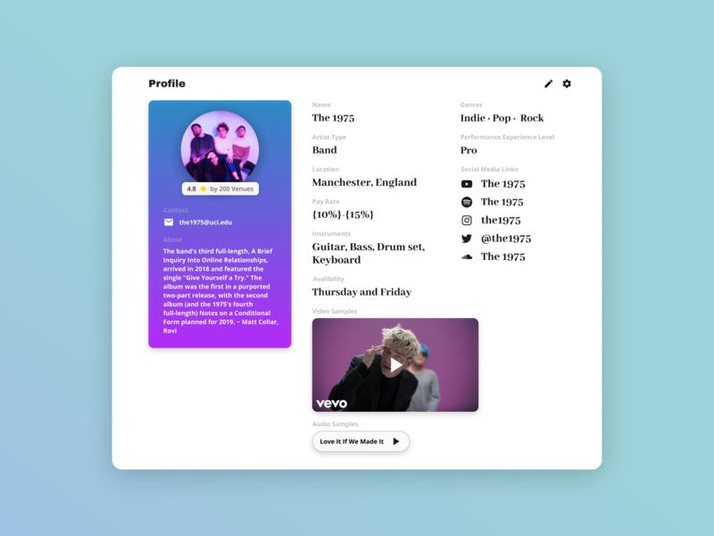 Artist Profile Screen Design