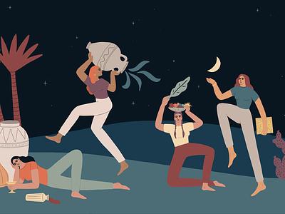 'Ma Nishtana' desert illustraion hagada seder passover holiday women