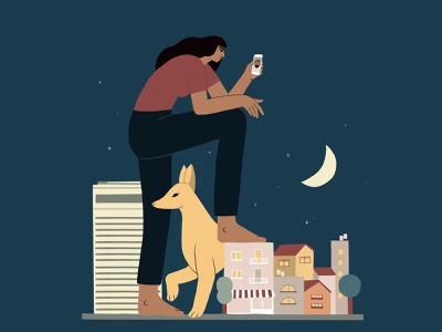 100 Meters facetime dog telaviv city urban night woman illustration tlv quarantine