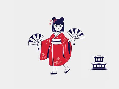 It's a Small World world happy japanese vector dance kids japan girl illustration