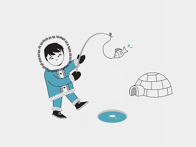 It's a Small World illustration active happy kids vector world fishing boy eskimo